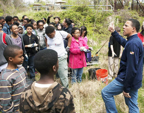 Maryland Lieutenant Governor Anthony Brown speaks to BioEYES and Baltimore County students at The Big Dig Earth Day event sponsored by the Greater Baltimore Leadership Alliance and BioEYES partner Blue Water Baltimore.